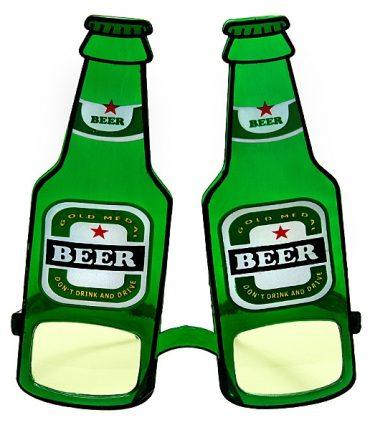 Occhiali in plastica divertenti a forma di birra colore verde