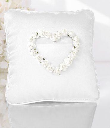Cuscino portafedi cuore roselline bianco in raso lucido