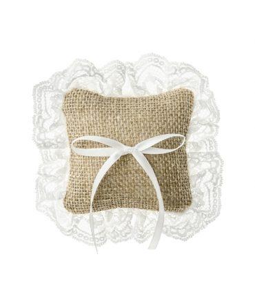Cuscino PortaFedi di juta piccolo con pizzo bianco mis 10x10 cm