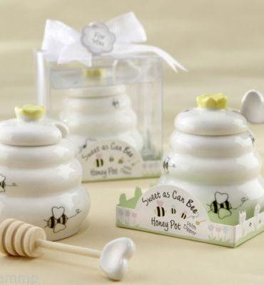 Porta miele in porcellana con dosatore in legno