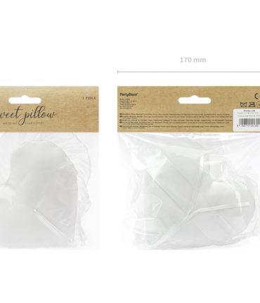 Cuscino portafedi forma cuore bianco con tulle e nastrino per fedi