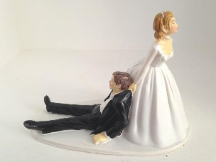 """Cake topper sposa trascina sposo """"Now I Have You"""""""