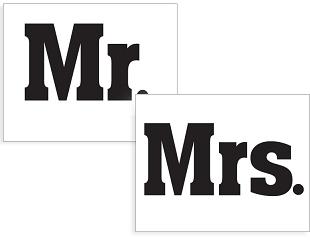 Coppia di adesivi per scarpe MR MRS