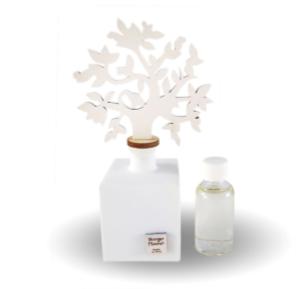 Profumatore in porcellana con albero della vita in legno bianco
