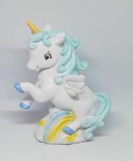 Salvadanaio unicorno celeste bimbo
