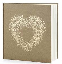 Guest book copertina kraft con cuore gold centrale