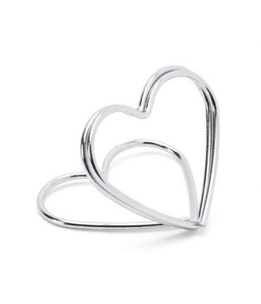 Segnaposto a forma di cuore color argento