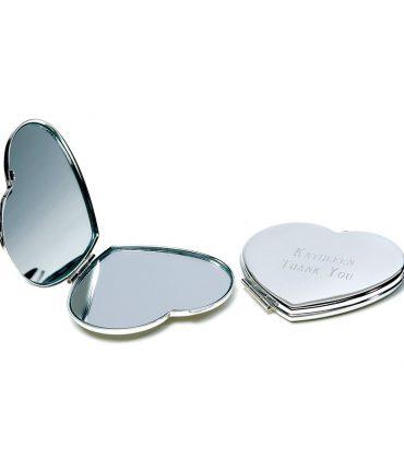 Specchietto Da Borsa Cuore Personalizzato Silver