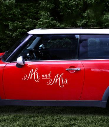 "Adesivo Macchina Sposi ""Mr&Mrs"" Bianco"