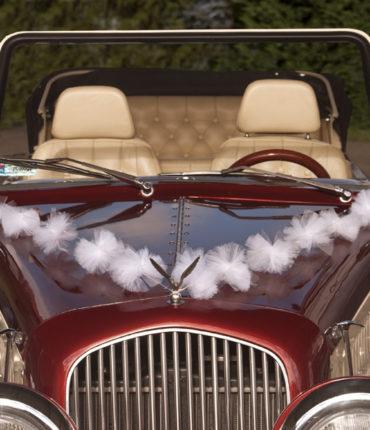 ghirlanda pompon tulle auto bianco per decorazione macchina