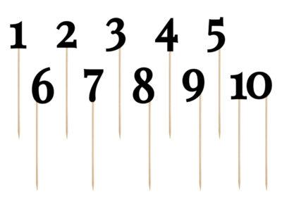 10 Numeri Segnaposto in cartoncino nero con supporto in legno