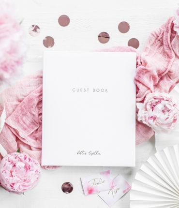GuestBook bianco scritta oro per dediche invitati 22 pagine bianche