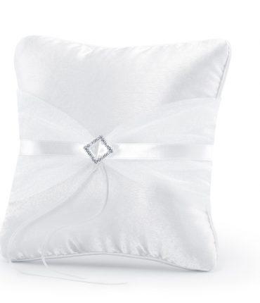 Cuscino portafedi raso tulle bianco e decorazione in argento