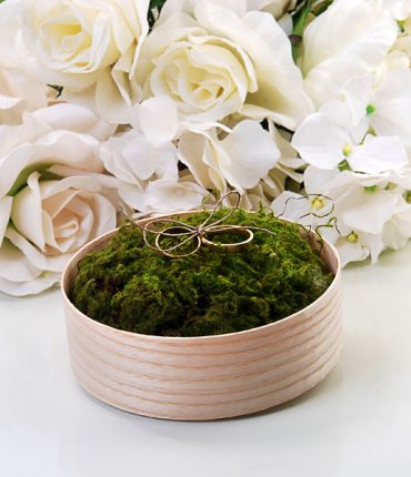 Scatola legno portafedi muschio verde spago per anelli e coperchio