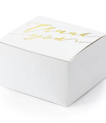 """10 Scatoline Portaconfetti """"ThankYou"""" con scritta oro"""