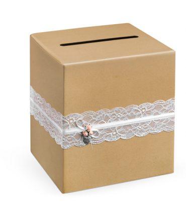 Scatola kraScatola kraft per buste quadrata con fascia di pizzo biancaft per buste quadrata con fascia di pizzo bianca