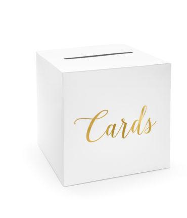 """Scatola bianca buste regalo quadrata con scritta rose gold """"Cards"""""""
