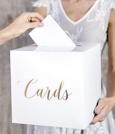 """Scatola bianca buste regalo quadrata con scritta in oro """"Cards"""""""