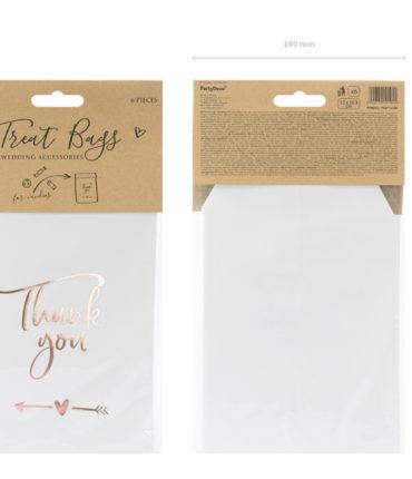 "6 Bustine Carta ""ThankYou"" bianche con scritta rose gold"
