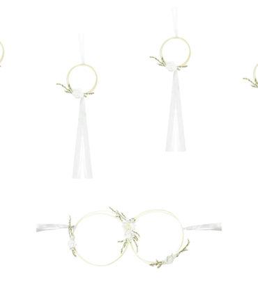 Kit decorazione auto bianco 6 cerchi in rattan con fiori