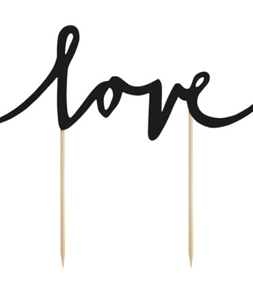 """Cake Topper Scritta """"Love"""" in cartoncino nero con supporto in legno"""