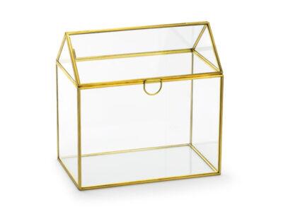 Porta carte regalo in vetro, oro, 13x21x21 cm Porta carte regalo in vetro a forma di casa con bordi metallici dorati, dimensioni ca. 13x21x21 cm.